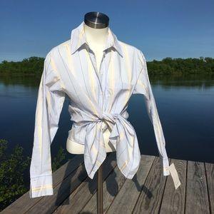 NWT Zara light blue fine stripe button down shirt